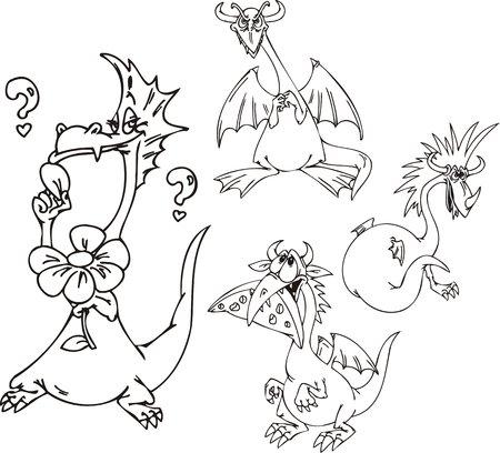 mythologie: Drache mit einer Blume, einem Drachen mit Haarschnitt, einen Drachen mit K�se, ein spiteful Drachen. Funny Drachen. Vektor-Illustration f�r Vinyl-Cuttings bereit.