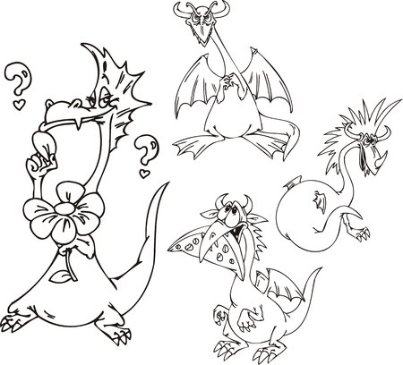 Dragon with a flower, a dragon with haircut, a dragon with cheese, a spiteful dragon. Funny dragons. Vector illustration ready for vinyl cutting. Stock Vector - 8570835