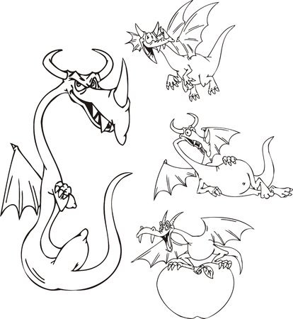 wizardry: Thin dragon, dragon with the big apple, a big-bellied dragon. Funny dragons.   illustration ready for vinyl cutting.