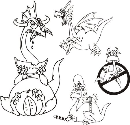 The dragon eats a water-melon, a dragon - militiaman, the dragon is searched.Funny dragons.   illustration ready for vinyl cutting. Stock Vector - 8570791