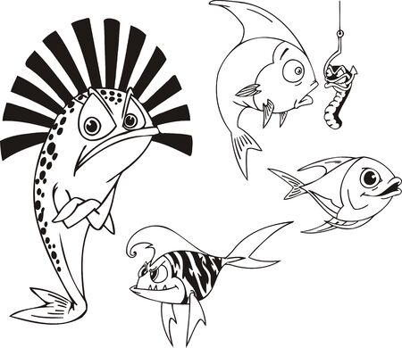 spiteful: Fish with a hat, spiteful fish and fish with a scrow. Funny water animals. Vector illustration ready for vinylcutting.