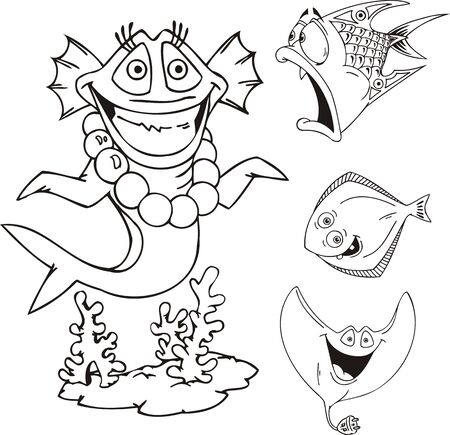 the slope: Sea cheerful being, slope and flat fish. Funny water animals. Vector illustration ready for vinylcutting. Illustration