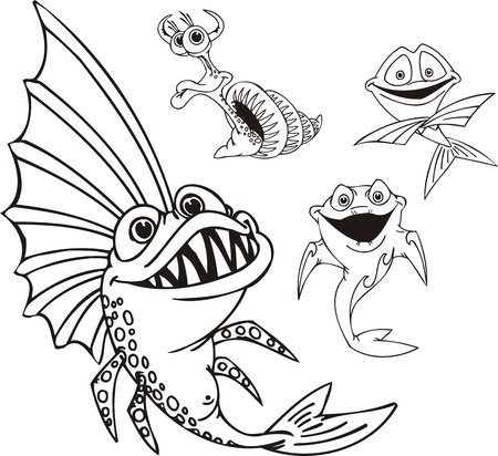 Fish with the big fin and a snail. Funny water animals. Vector illustration ready for vinylcutting. Vector