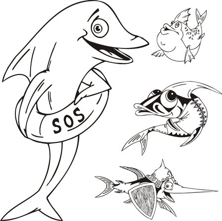 Dolphin with a life buoy, fishes with a board and fish in a shirt. Funny water animals. Vector illustration ready for vinyl cutting. Vector