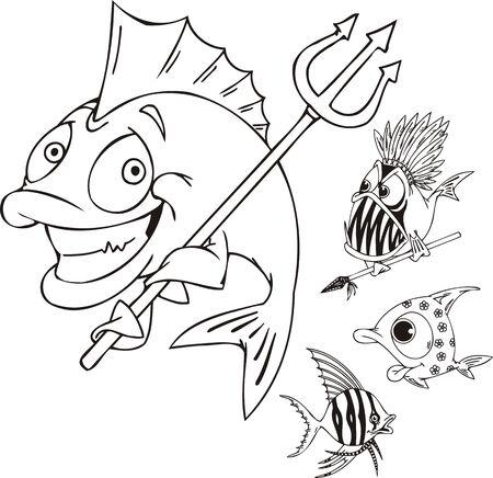 Fische mit einen Dreizack, Fische mit einem Speer und gestreiften Fisch. Lustige Wasser Tiere. Vektor-Illustration für Vinylcutting bereit.