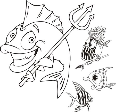 Fish with a trident, fish with a spear and striped fish. Funny water animals. Vector illustration ready for vinylcutting. Vector