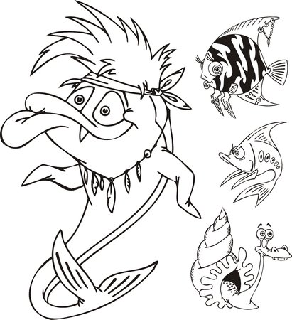 Fish with a bandage, a snail and striped fish. Funny water animals. Vector illustration ready for vinylcutting. Vector