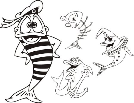 Fish in a stripped vest, fish - clown and fish with an anchor.  Funny water animals. Vector illustration ready for vinylcutting. Vector