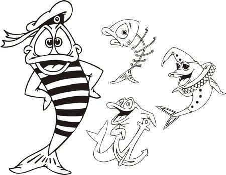 Pescar en un chaleco stripped, pescado - clown y peces con un ancla.  Animales de agua divertido. Ilustración de vector listo para vinylcutting.