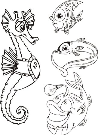 Sea horse, the eel and fish with a small lamp. Funny water animals. Vector illustration ready for vinylcutting. Vector