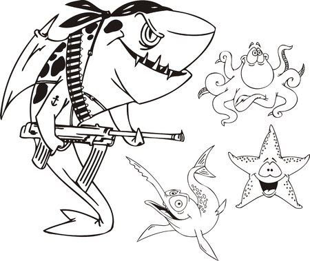 Shark with the automatic machine, fish - sword, a starfish and an octopus. Funny water animals. Vector illustration ready for vinylcutting. Vector