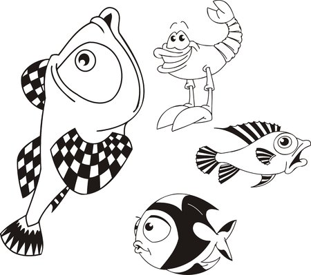 four color printing: Shrimp and fishes. Funny water animals. Vector illustration ready for vinylcutting.