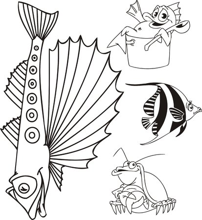 four color printing: Fish with the big fin, a crab and fish in a pan. Funny water animals. Vector illustration ready for vinylcutting.