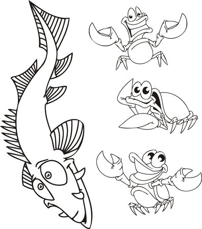 Fish with the big dens and three crabs. Funny water animals. Vector illustration ready for vinylcutting. Vector