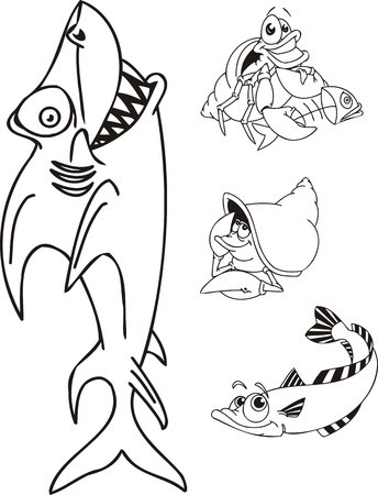 Shark, crab and small fish. Funny water animals. Vector illustration ready for vinylcutting. Vector