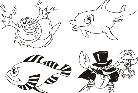Dolphin, fish in a hoop and a crab - conjurer. Funny water animals. Vector illustration ready for vinylcutting. Vector