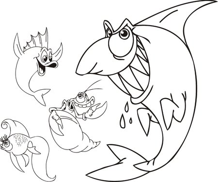 dens: Shark, toothless shrimp and two small fishes. Funny water animals. Vector illustration ready for vinylcutting.