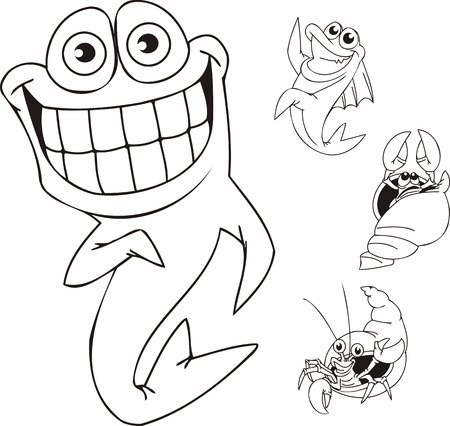 Fish with the big smile and two shrimps. Funny water animals. Vector illustration ready for vinylcutting. Stock Vector - 8594246