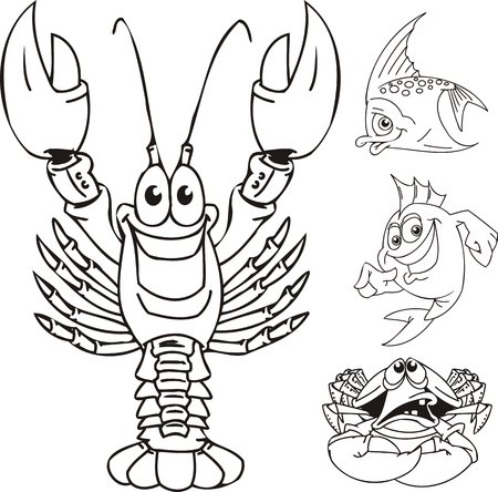 Cancer, a crab and two small fishes. Funny water animals. Vector illustration ready for vinylcutting. Stock Vector - 8594314