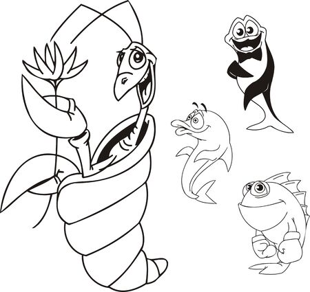 Shrimp with a flower, fish -  boxer and a dolphin. Funny water animals. Vector illustration ready for vinylcutting. Vector