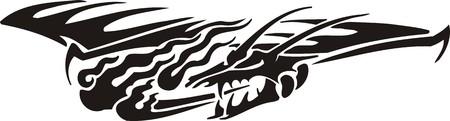 named person: Horizontal Dragons.Vector illustration ready for vinyl cutting. Illustration