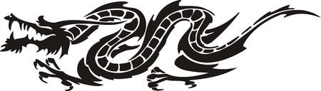 Horizontal Dragons.Vector illustration ready for vinyl cutting. Stock Vector - 8594288