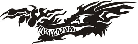 Horizontal Dragons.Vector illustration ready for vinyl cutting. Stock Vector - 8594264