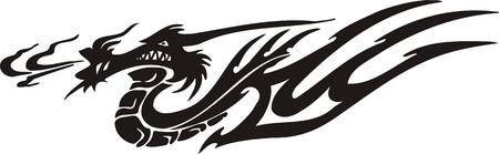 Horizontal Dragons.Vector illustration ready for vinyl cutting. Stock Vector - 8594310