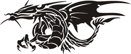 horizontal: Horizontal Dragons.Vector illustration ready for vinyl cutting. Illustration