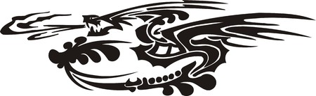 Horizontal Dragons.Vector illustration ready for vinyl cutting. Stock Vector - 8594309