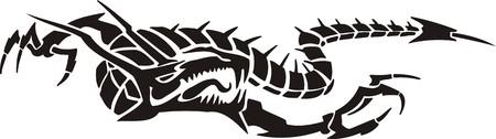 Horizontal Dragons.Vector illustration ready for vinyl cutting. Stock Vector - 8594305