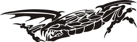 Horizontal Dragons.Vector illustration ready for vinyl cutting. Stock Vector - 8594307