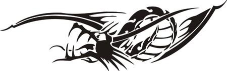 Horizontal Dragons.Vector illustration ready for vinyl cutting. Stock Vector - 8594302