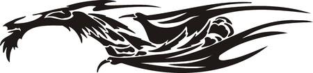 Horizontal Dragons.Vector illustration ready for vinyl cutting. Stock Vector - 8594269