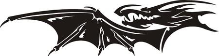Horizontal Dragons.Vector illustration ready for vinyl cutting. Stock Vector - 8594294