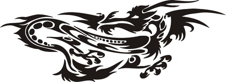 Horizontal Dragons.Vector illustration ready for vinyl cutting. Vector