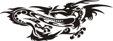 Horizontal Dragons.Vector illustration ready for vinyl cutting. Vector