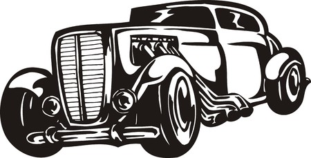 low tire: Vintage �ars.Vector illustration ready for vinyl cutting.
