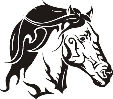 Beautiful Horse.Vector illustration ready for vinyl cutting. Vector Illustration