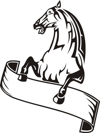 running: Beautiful Horse.Vector illustration ready for vinyl cutting. Illustration