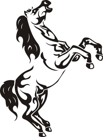 rearing: Beautiful Horse.Vector illustration ready for vinyl cutting. Illustration