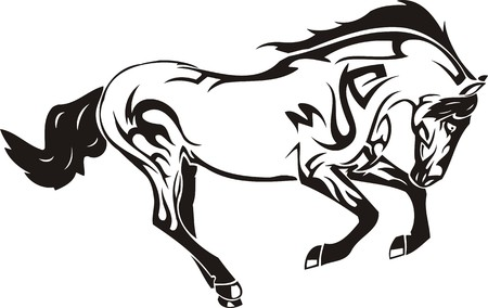 horses in the wild: Beautiful Horse.Vector illustration ready for vinyl cutting. Illustration