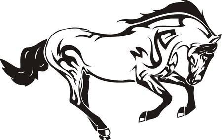dessin tribal: Belle Horse.Vector illustration pr�te pour la d�coupe de vinyle. Illustration