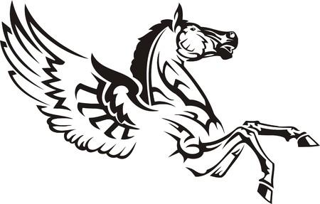 pegasus: Beautiful Horse.Vector illustration ready for vinyl cutting. Illustration