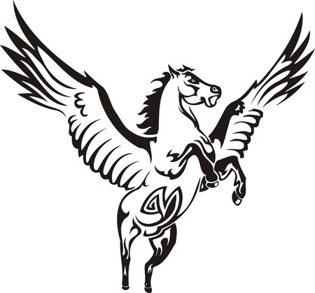 pegaso: Ilustraci�n Horse.Vector hermosa listo para corte de vinilo.
