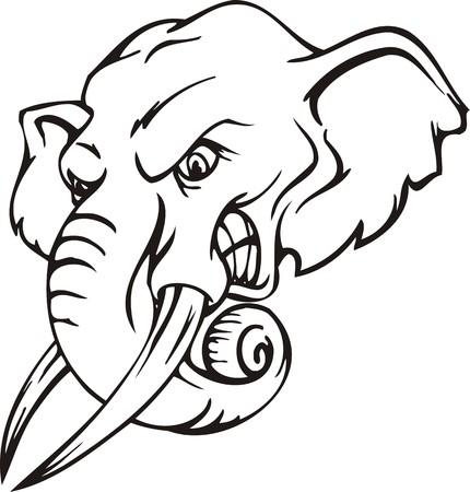 Elephant.Mascot Templates.Vector Illustration für Vinyl-Cuttings bereit.