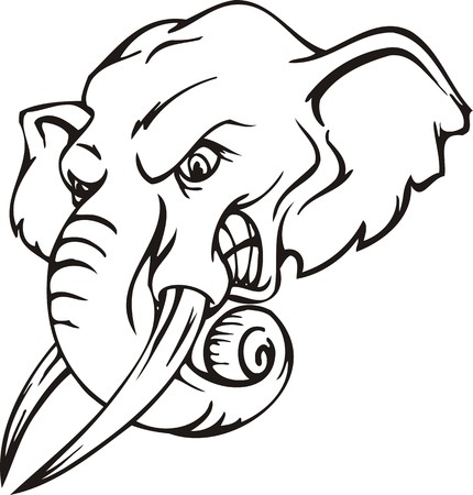mascots: Elephant.Mascot Templates.Vector illustration ready for vinyl cutting.