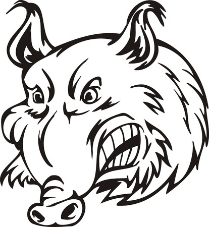 Wild boar. Mascot Templates.Vector illustration ready for vinyl cutting. Vector