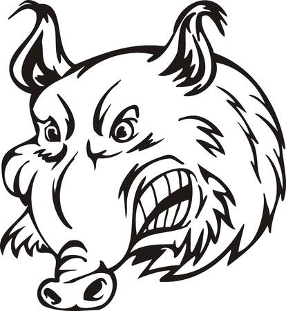 wild  boar: Wild boar. Mascot Templates.Vector illustration ready for vinyl cutting. Illustration