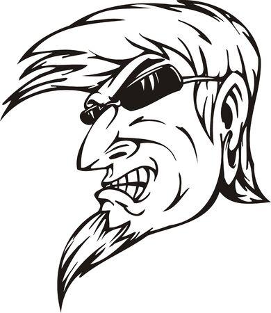 El hombre en espectáculos.Ilustración de la mascota Templates.Vector listo para corte de vinilo.